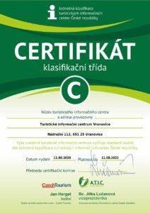 certifikat Turistické informační centrum Vranovice