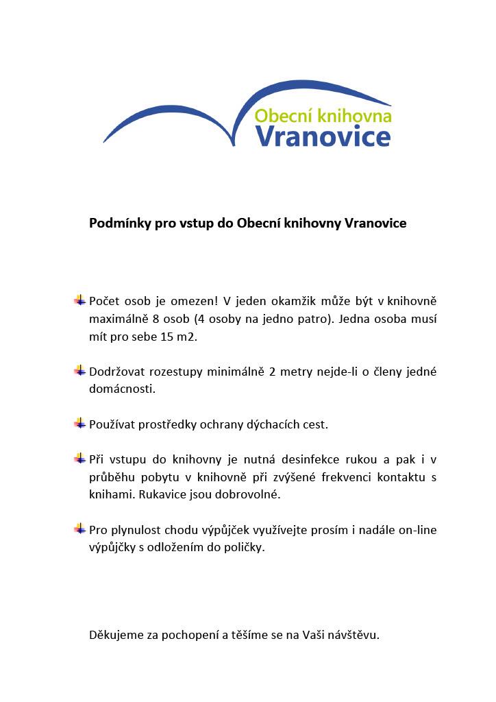 Podmínky pro vstup do Obecní knihovny Vranovice